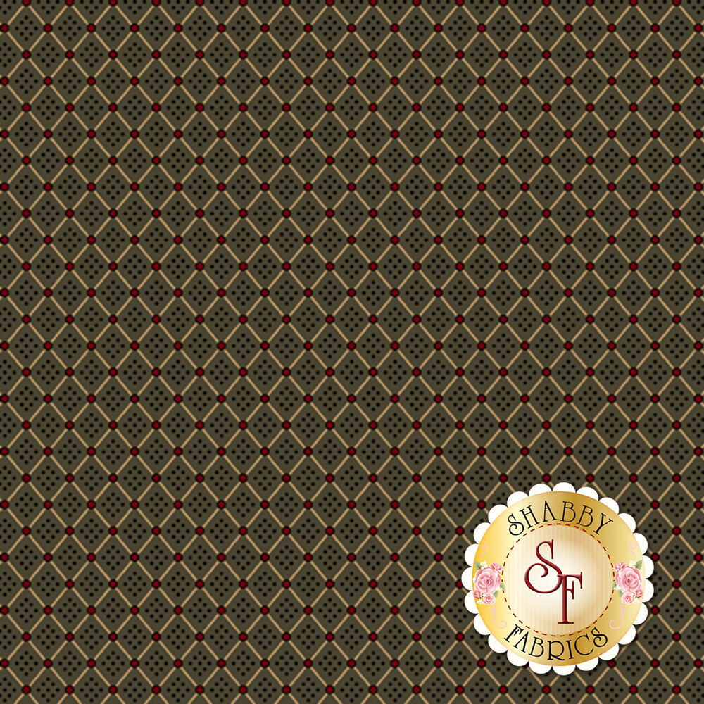 Tan grid with red dots on green | Shabby Fabrics
