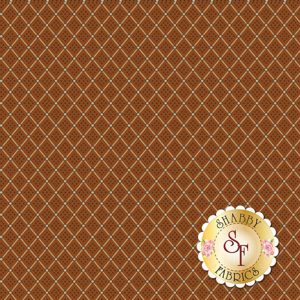 Tan grid with dots on orange   Shabby Fabrics