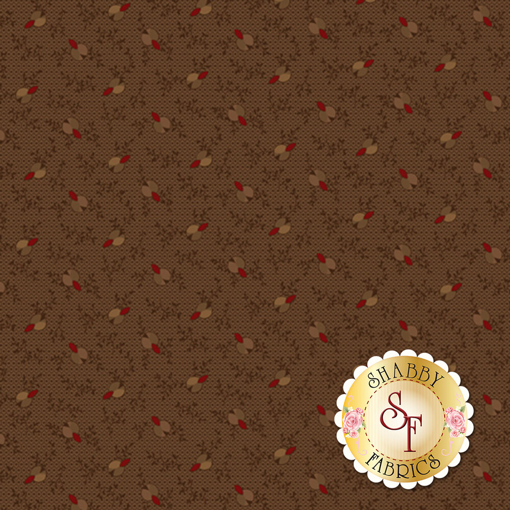 Small tan/red flowers all over brown | Shabby Fabrics
