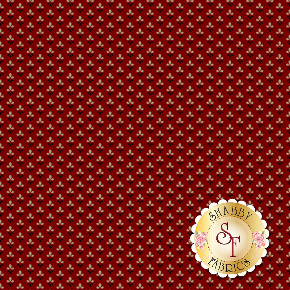 Tiny tan and black flowers all over red | Shabby Fabrics