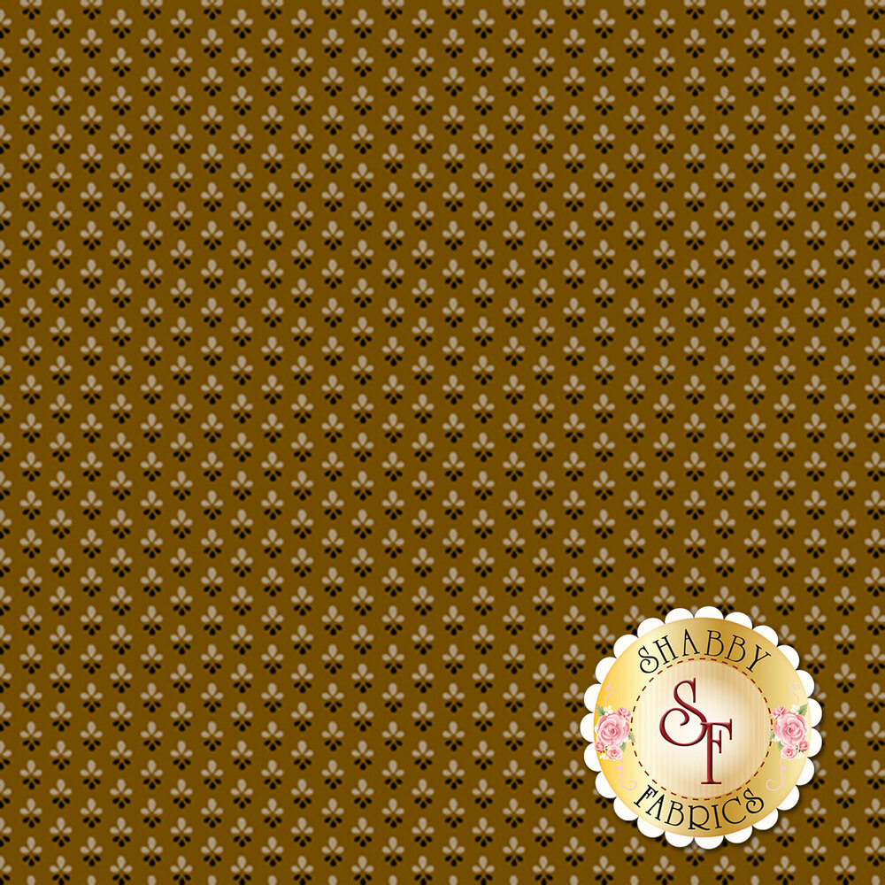 Tiny tan and black flowers all over brown | Shabby Fabrics
