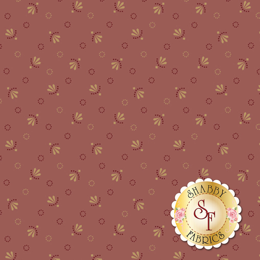 Tan and pink ditsy flowers and dotted circles all over pink | Shabby Fabrics
