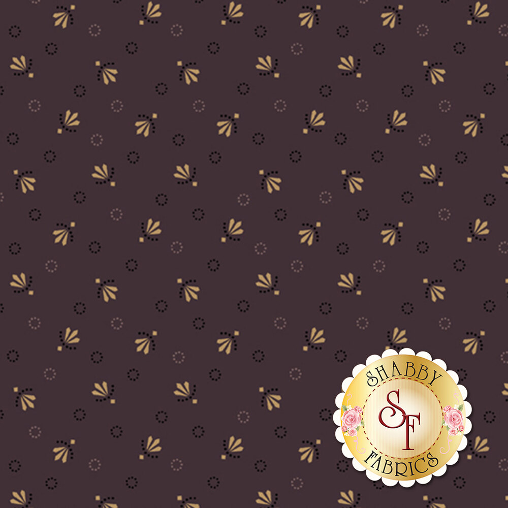 Tan and purple ditsy flowers and dotted circles all over purple | Shabby Fabrics