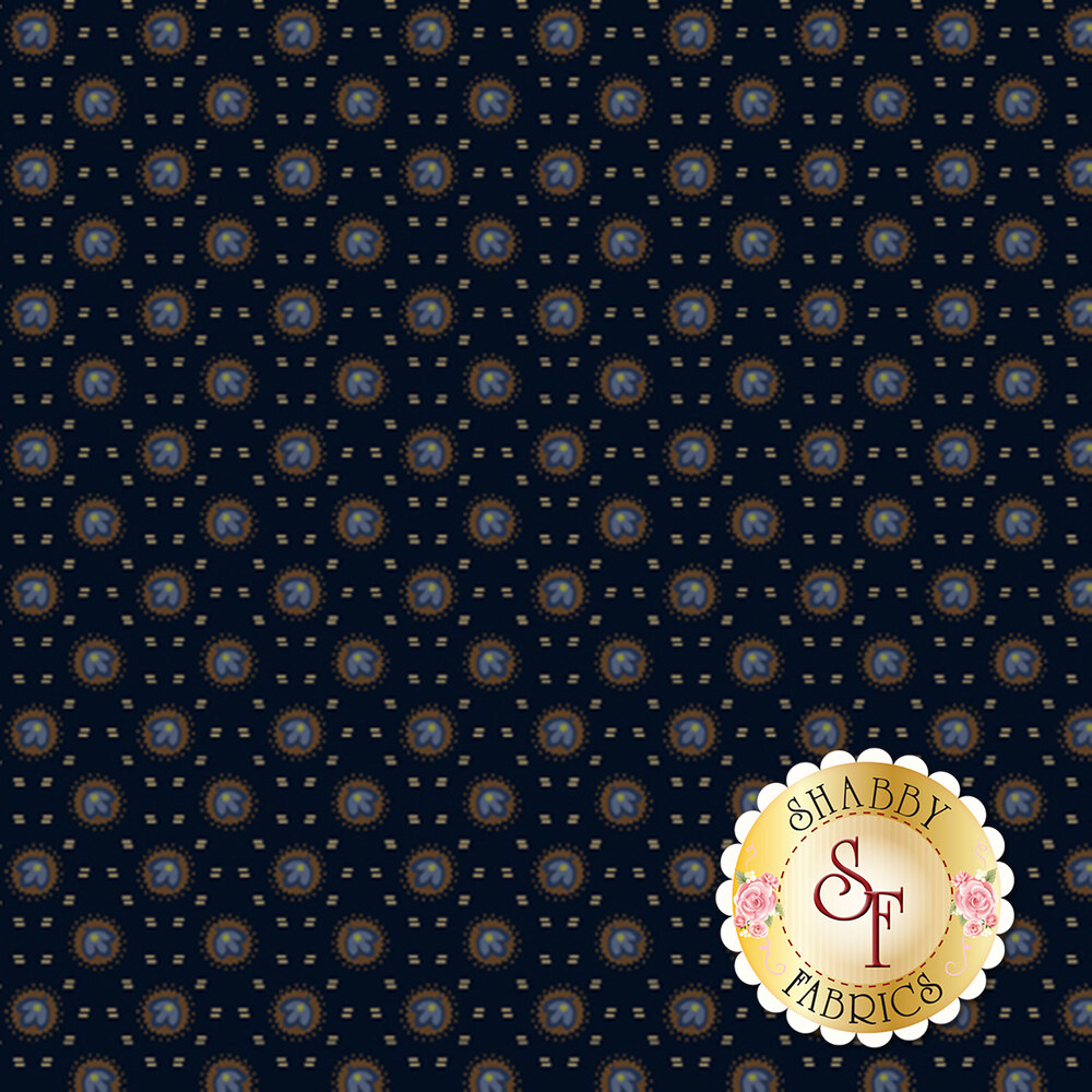 Blue flowers in brown circles with tan dashes all over blue   Shabby Fabrics
