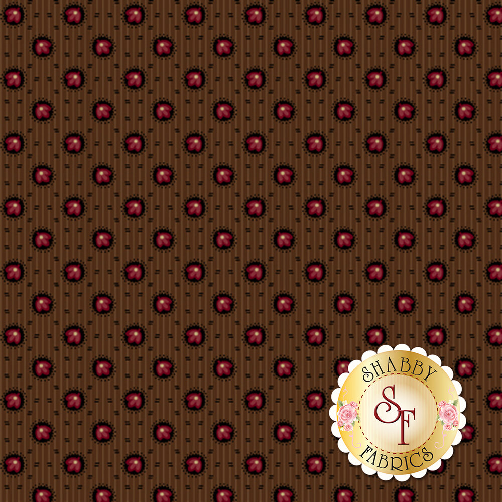 Red flowers in brown circles with dashes all over brown | Shabby Fabrics