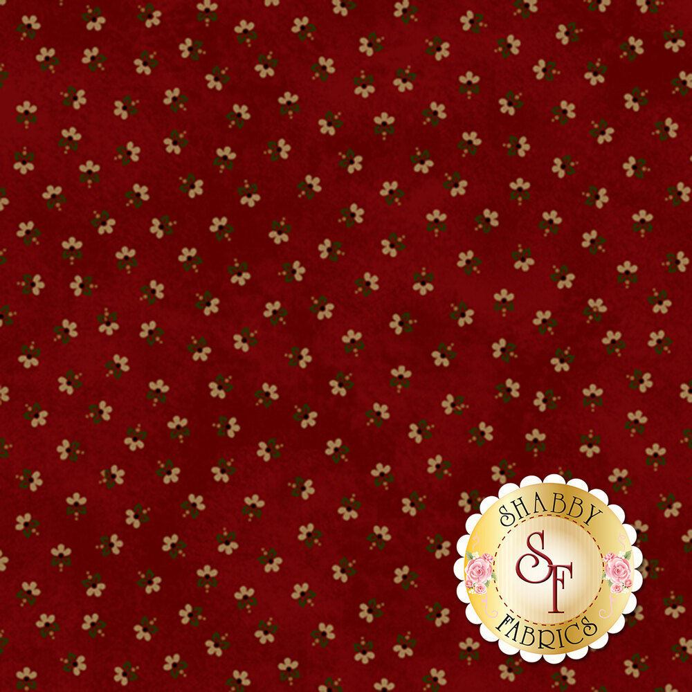 Small tan ditsy flowers all over red | Shabby Fabrics