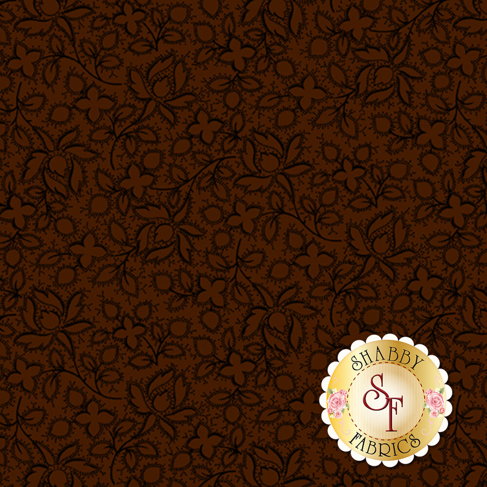 Flowers and leaves with black outlines all over brown | Shabby Fabrics