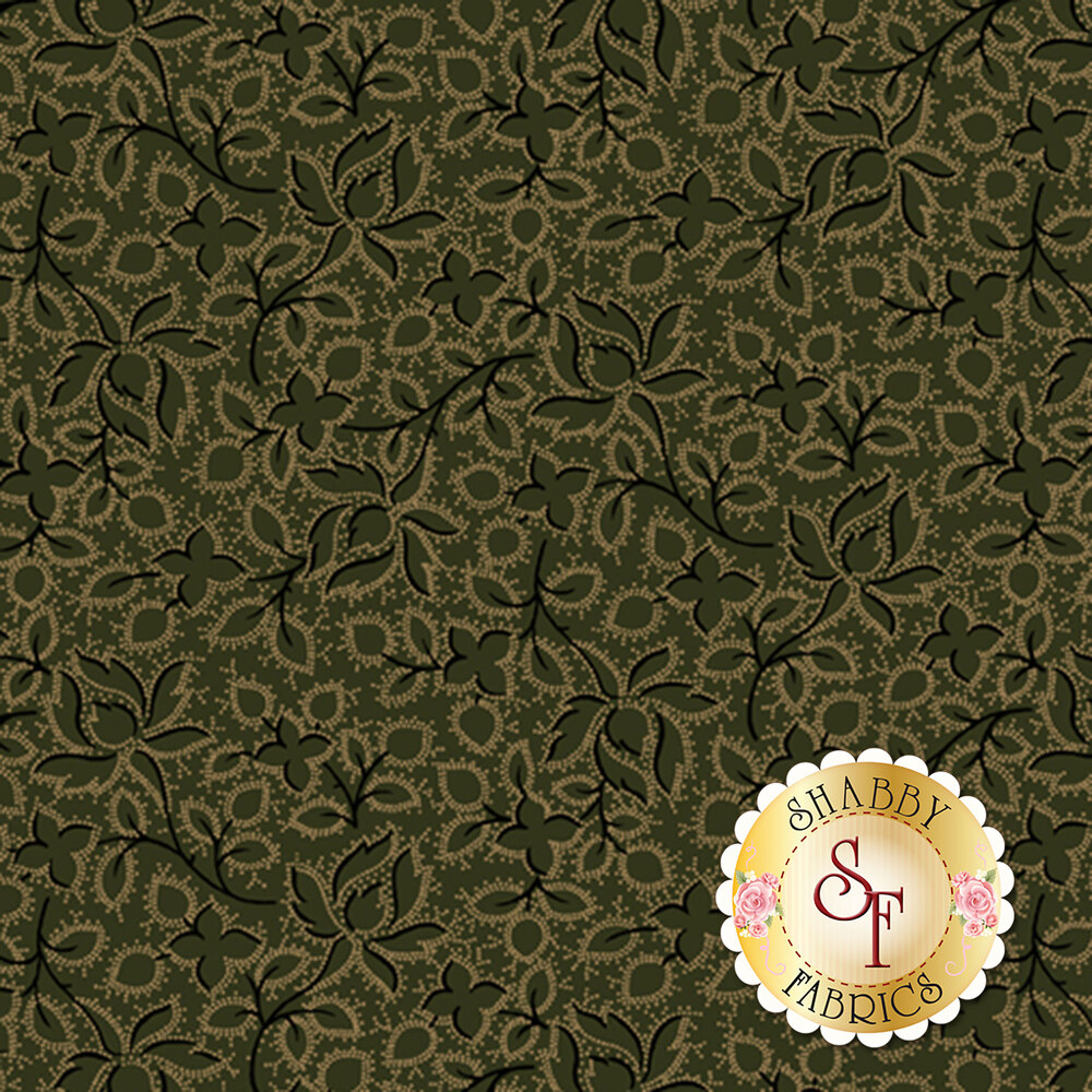 Flowers and leaves with black and tan outlines all over green | Shabby Fabrics