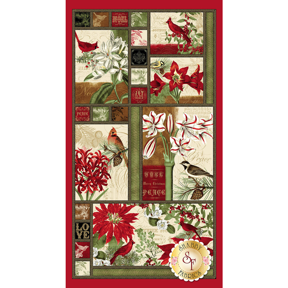 Panel featuring birds and poinsettias in blocks | Shabby Fabrics