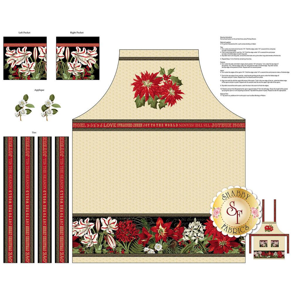 Yuletide Botanica cream apron panel | Shabby Fabrics