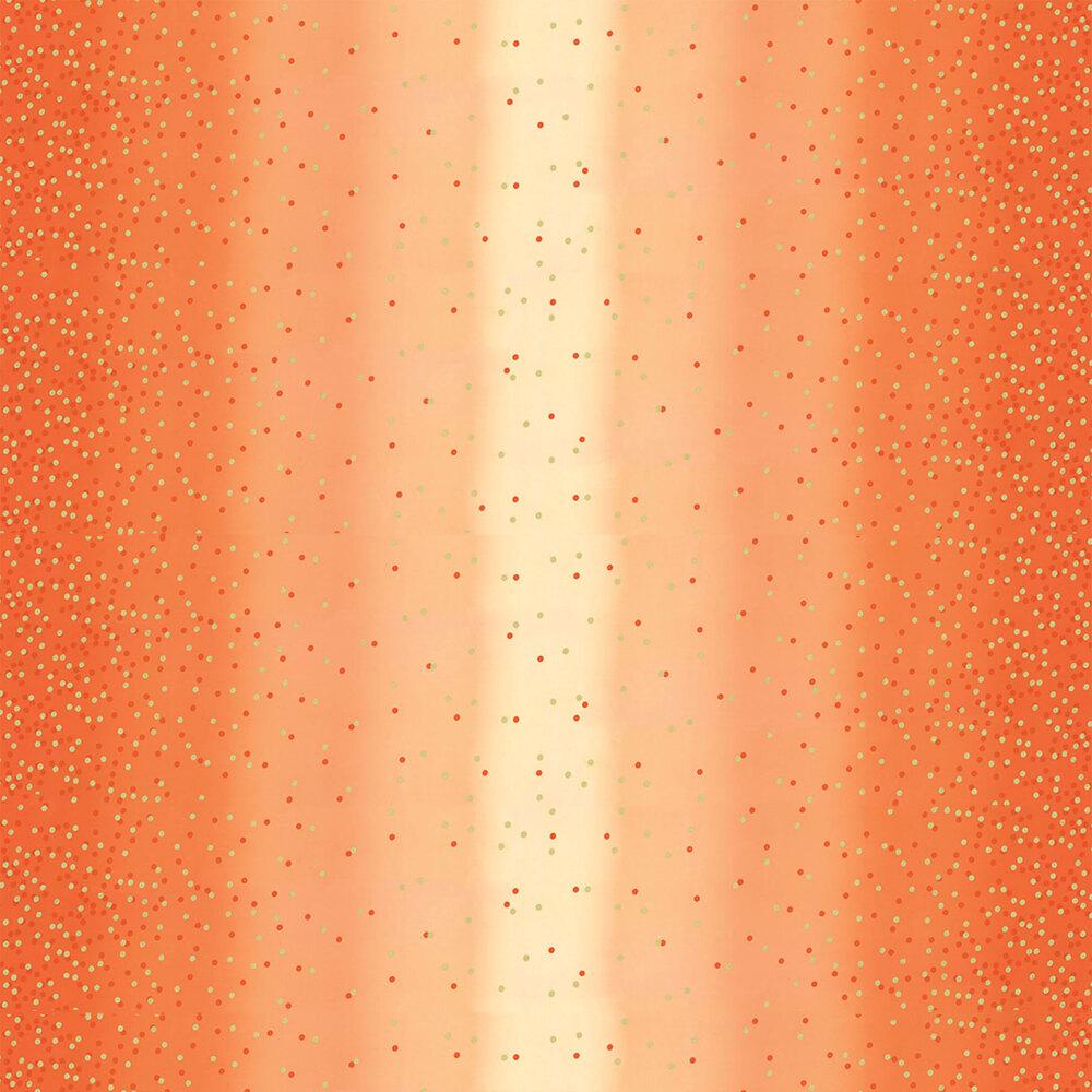 Orange ombre fabric with tonal dots and gold metallic dots | Shabby Fabrics