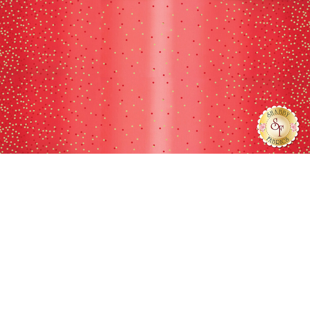 Red ombre fabric with tonal dots and gold metallic dots | Shabby Fabrics