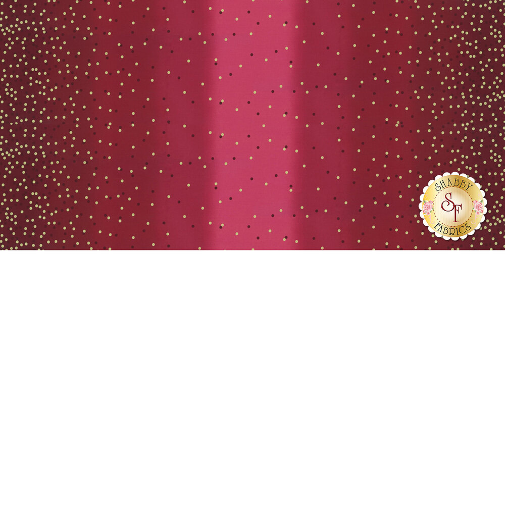 Burgundy ombre fabric with tonal dots and gold metallic dots | Shabby Fabrics