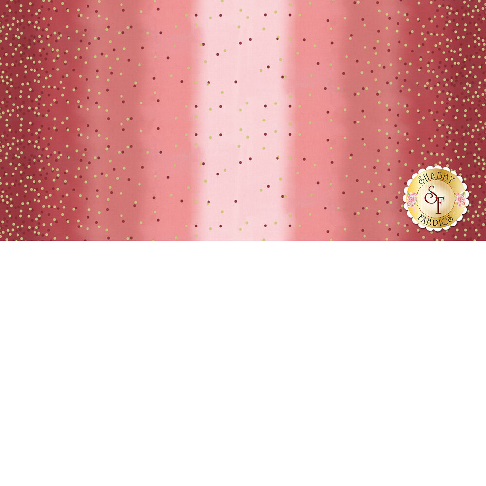Maroon ombre fabric with tonal dots and gold metallic dots | Shabby Fabrics