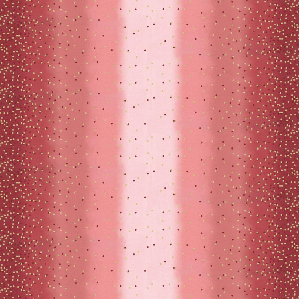 Maroon ombre fabric with tonal dots and gold metallic dots | Shabby Fabrics