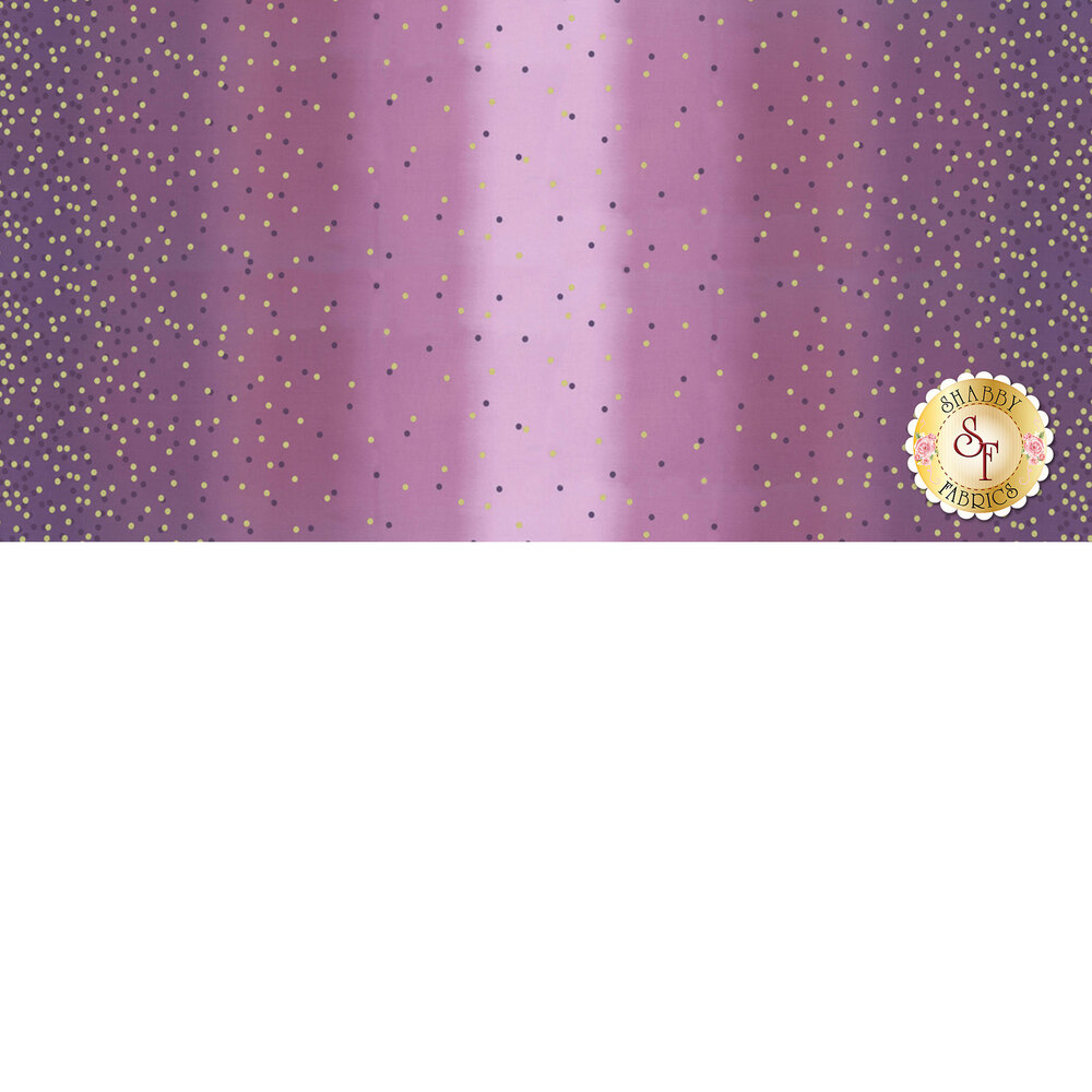 Purple ombre fabric with tonal dots and gold metallic dots | Shabby Fabrics