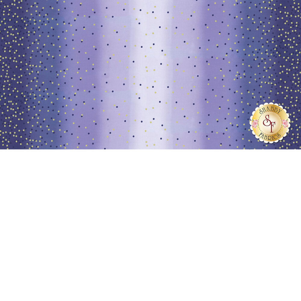 Royal purple ombre fabric with tonal dots and gold metallic dots | Shabby Fabrics