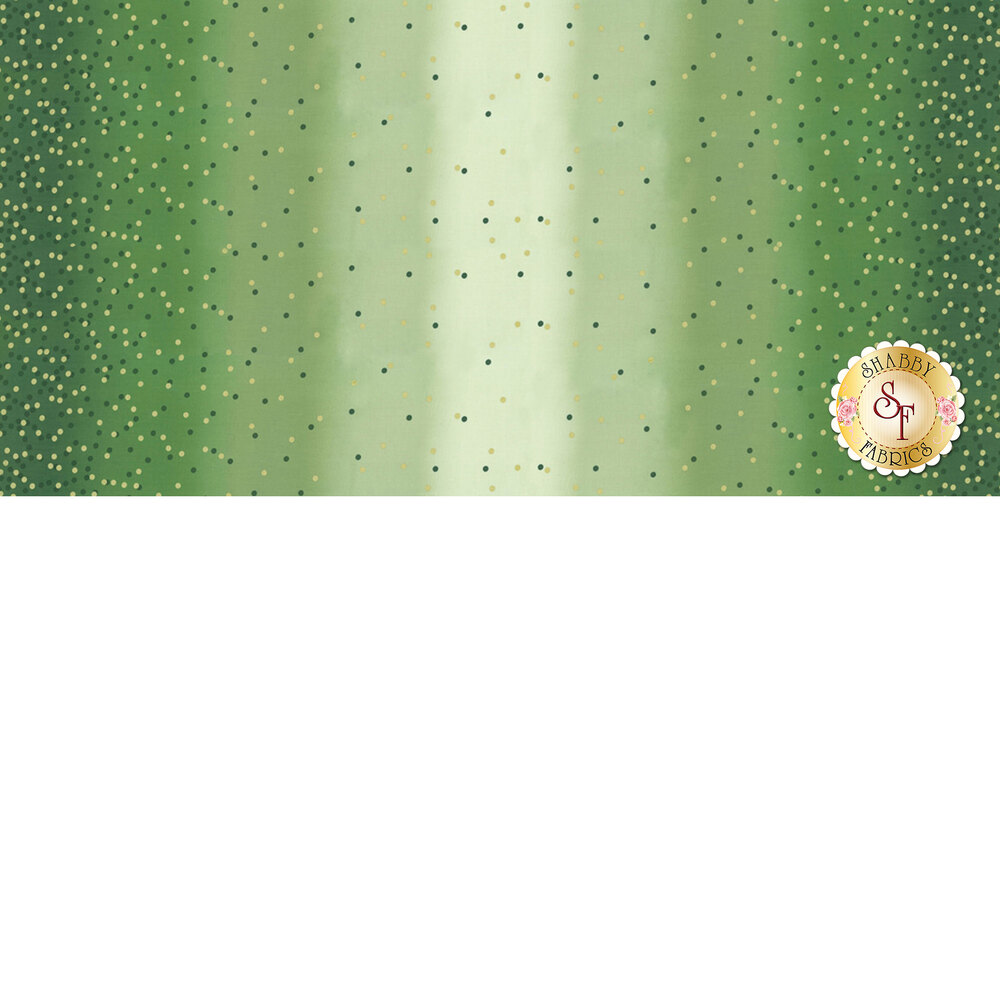 Light green ombre fabric with tonal dots and gold metallic dots | Shabby Fabrics