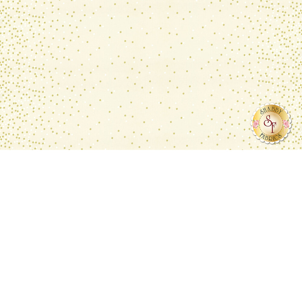 Cream fabric with white dots and gold metallic dots | Shabby Fabrics
