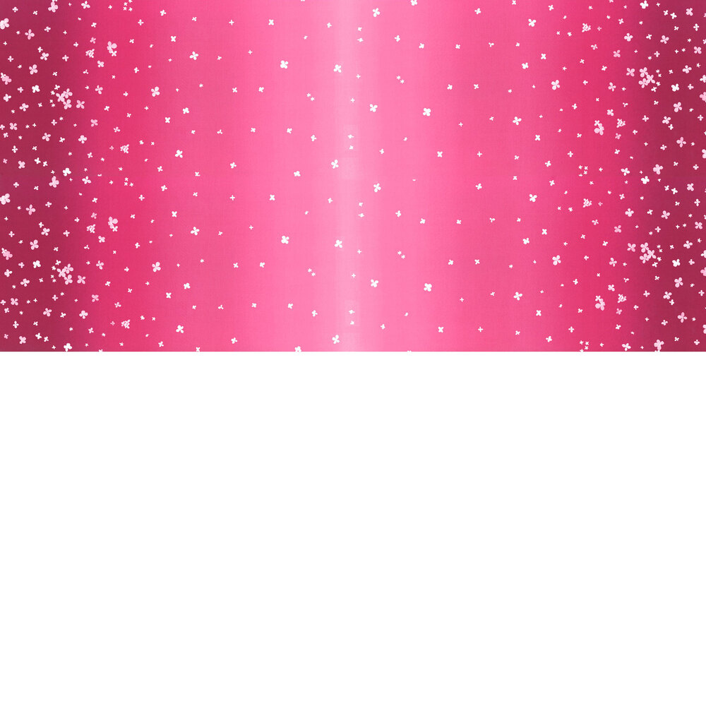 Magenta ombre fabric with small scattered flowers   Shabby Fabrics