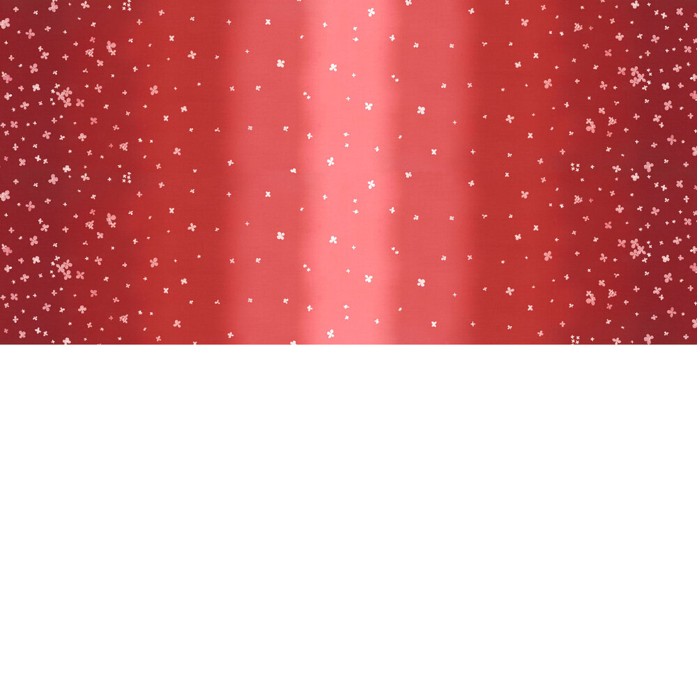 Red ombre fabric with small scattered flowers | Shabby Fabrics