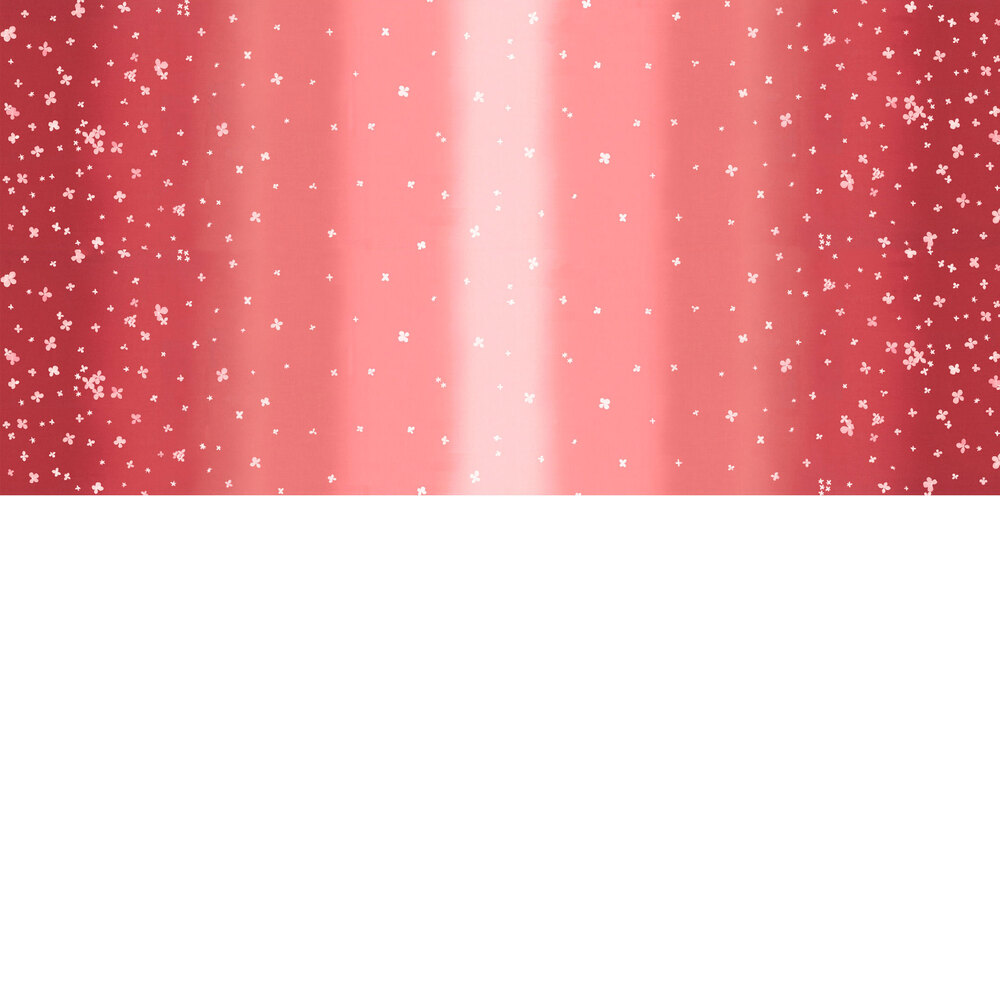 Pink/red ombre fabric with small scattered flowers | Shabby Fabrics