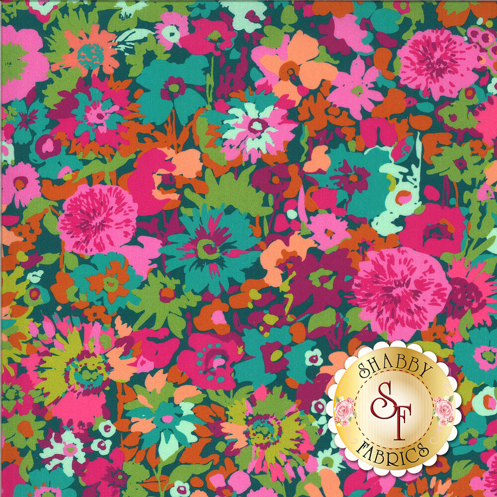 Varying shades of pinks and teal flowers on berry | Shabby Fabrics