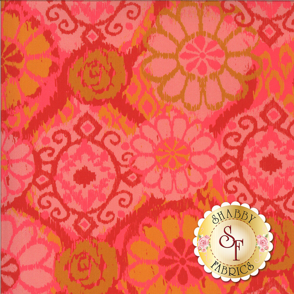 Varying pink tones on a bohemian flower prints | Shabby Fabrics