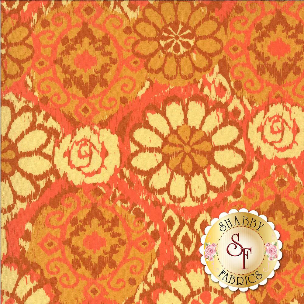 Varying amber tones on a bohemian flower prints | Shabby Fabrics
