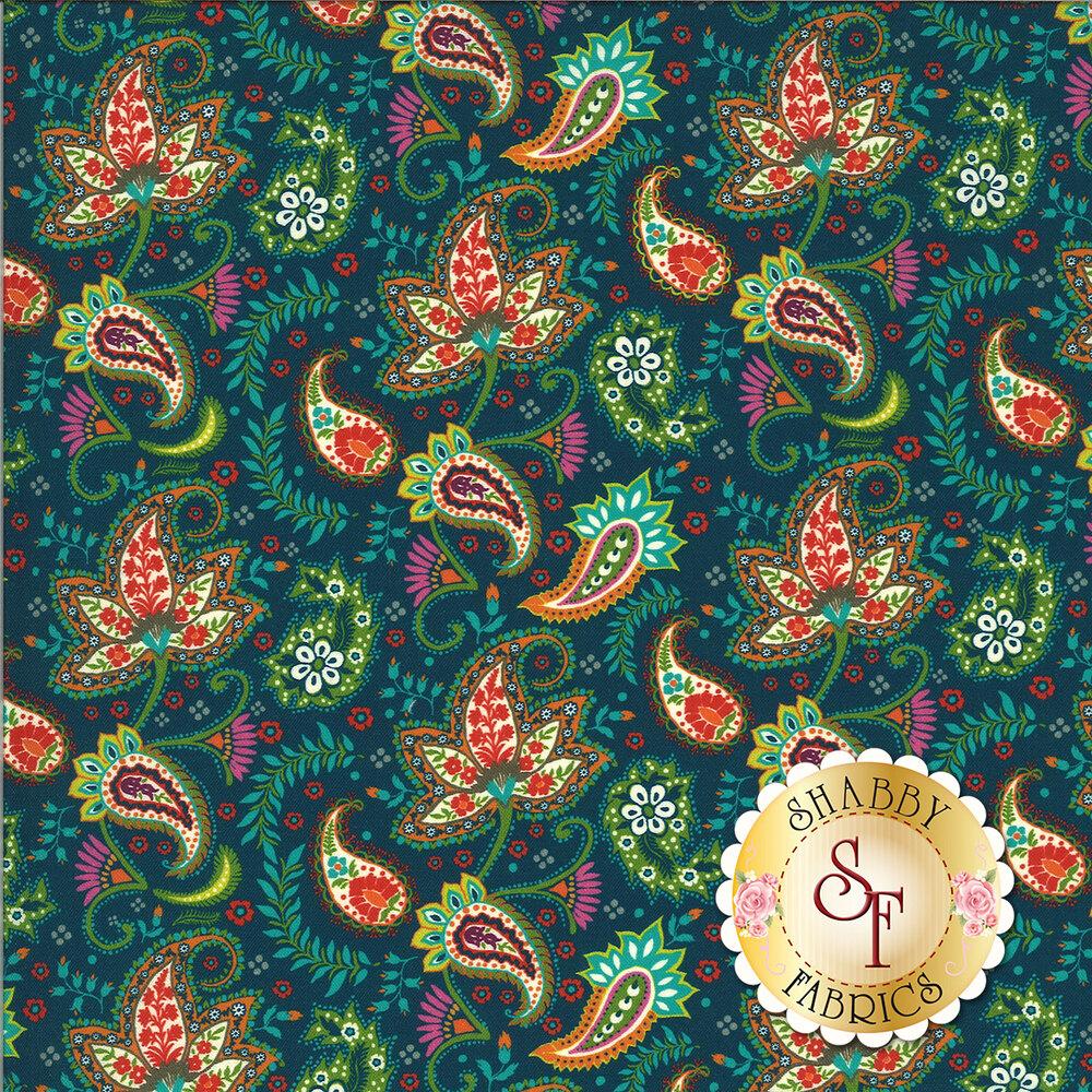 Tossed paisley print on teal   Shabby Fabrics