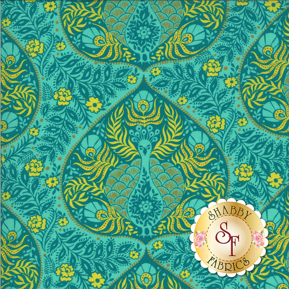 Teal and green peacocks and florals on teal | Shabby Fabrics