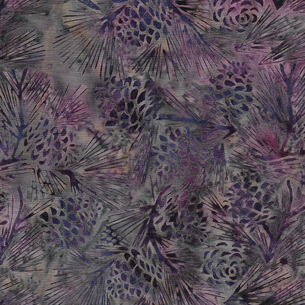 Tonal pinecones and evergreen boughs on a mottled background