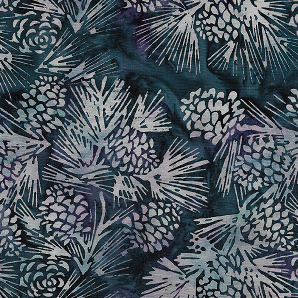 Pinecones and evergreen boughs on a mottled dark blue background