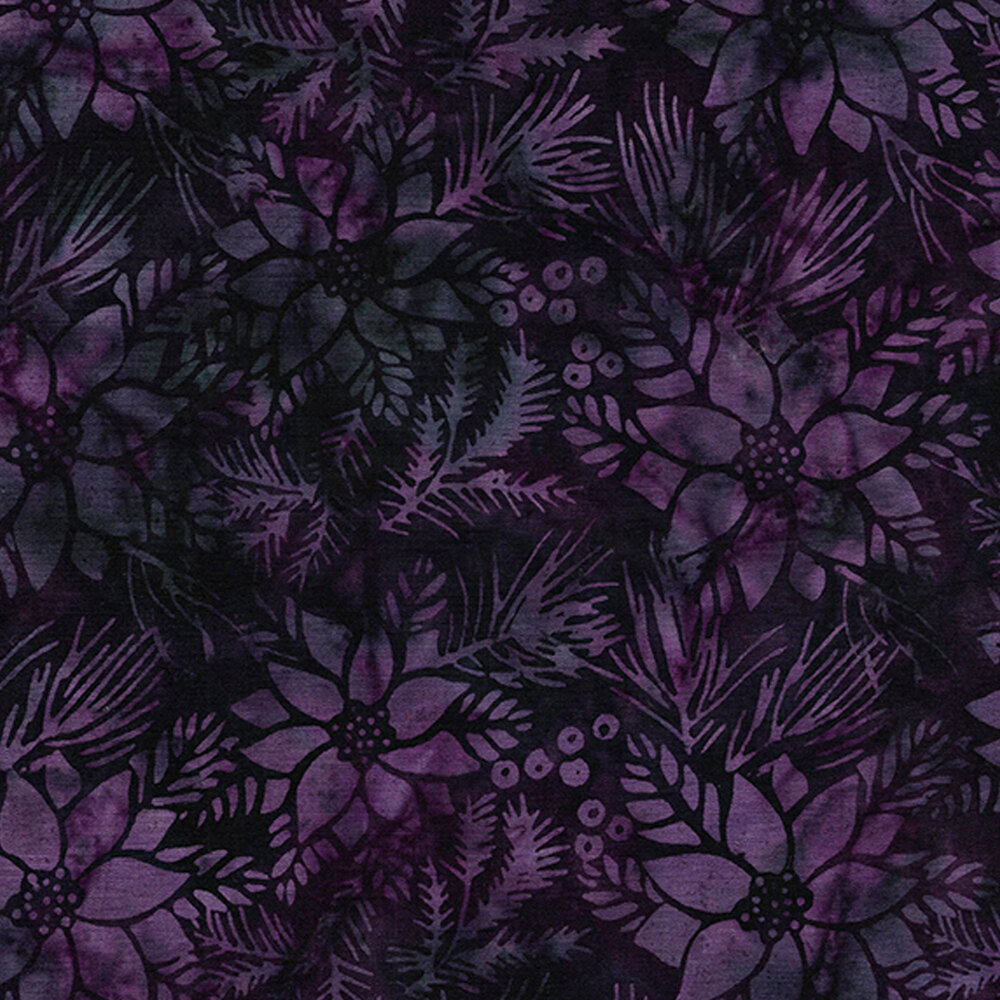 Purple poinsettias on a dark purple background