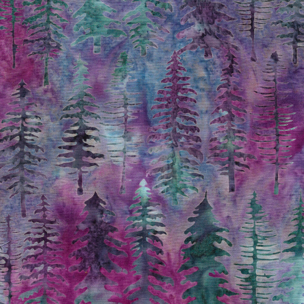 Trees on a mottled blue and purple background