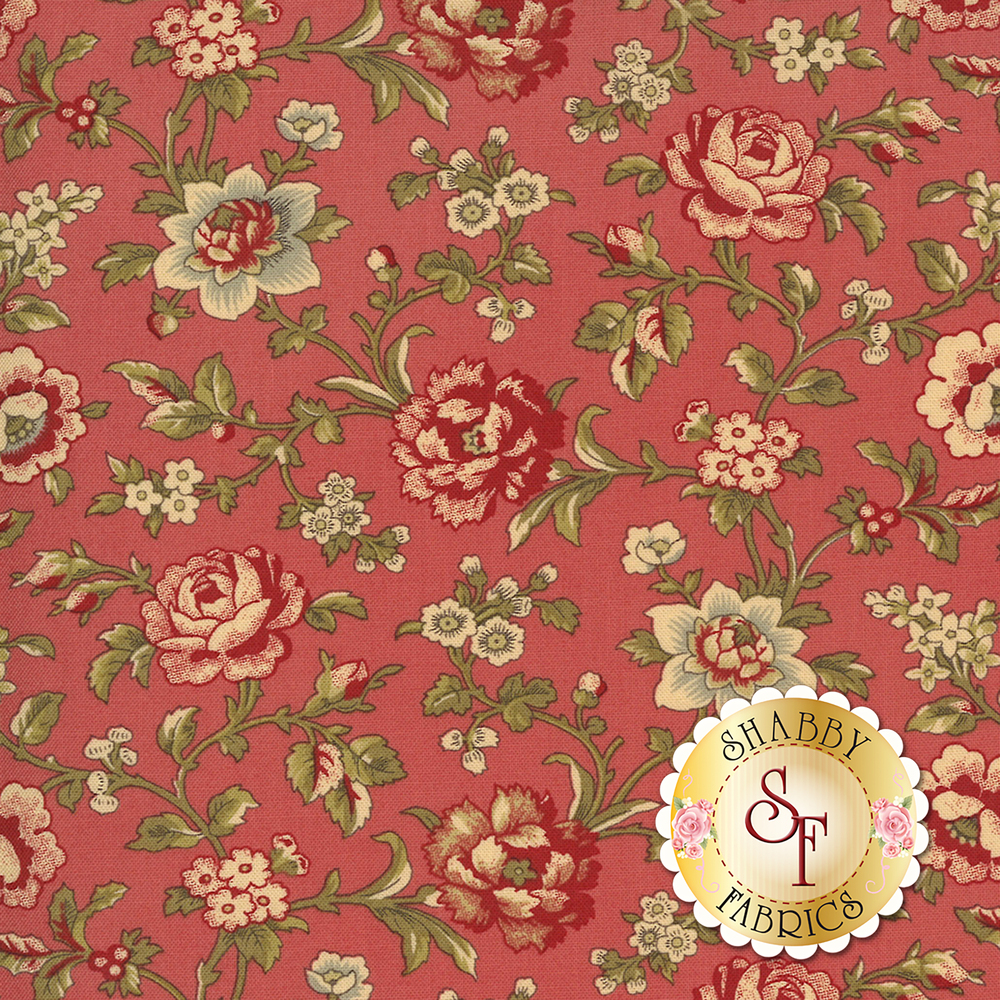 Beautiful roses and flowers on vines on a pink background | Shabby Fabrics