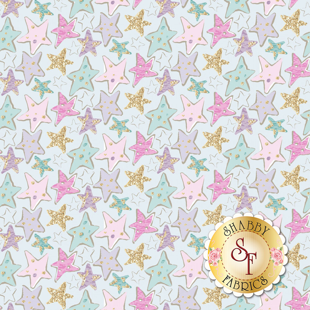 Multicolored/glittery stars all over a light turquoise background | Shabby Fabrics