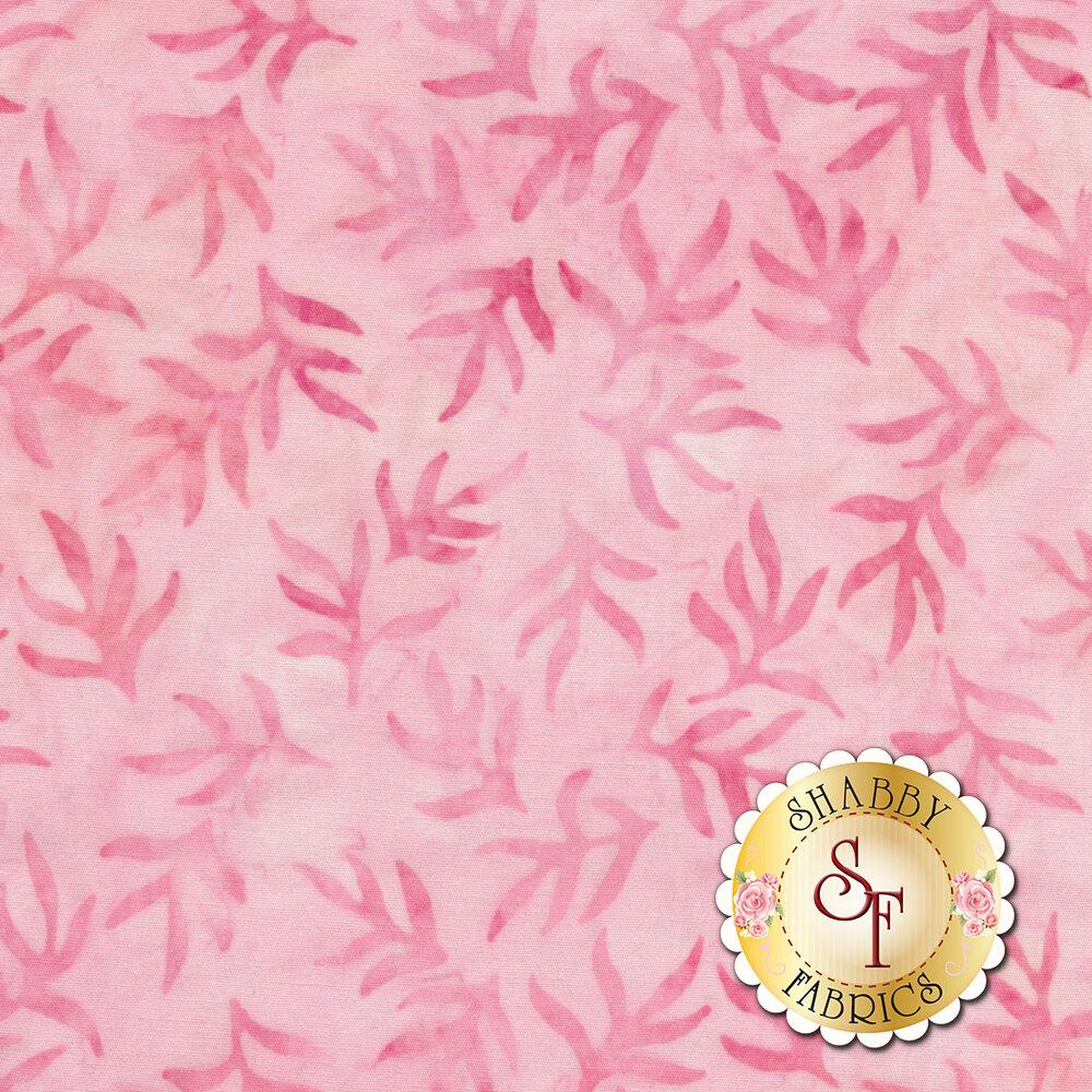 Tonal pink leaves on a light pink mottled background