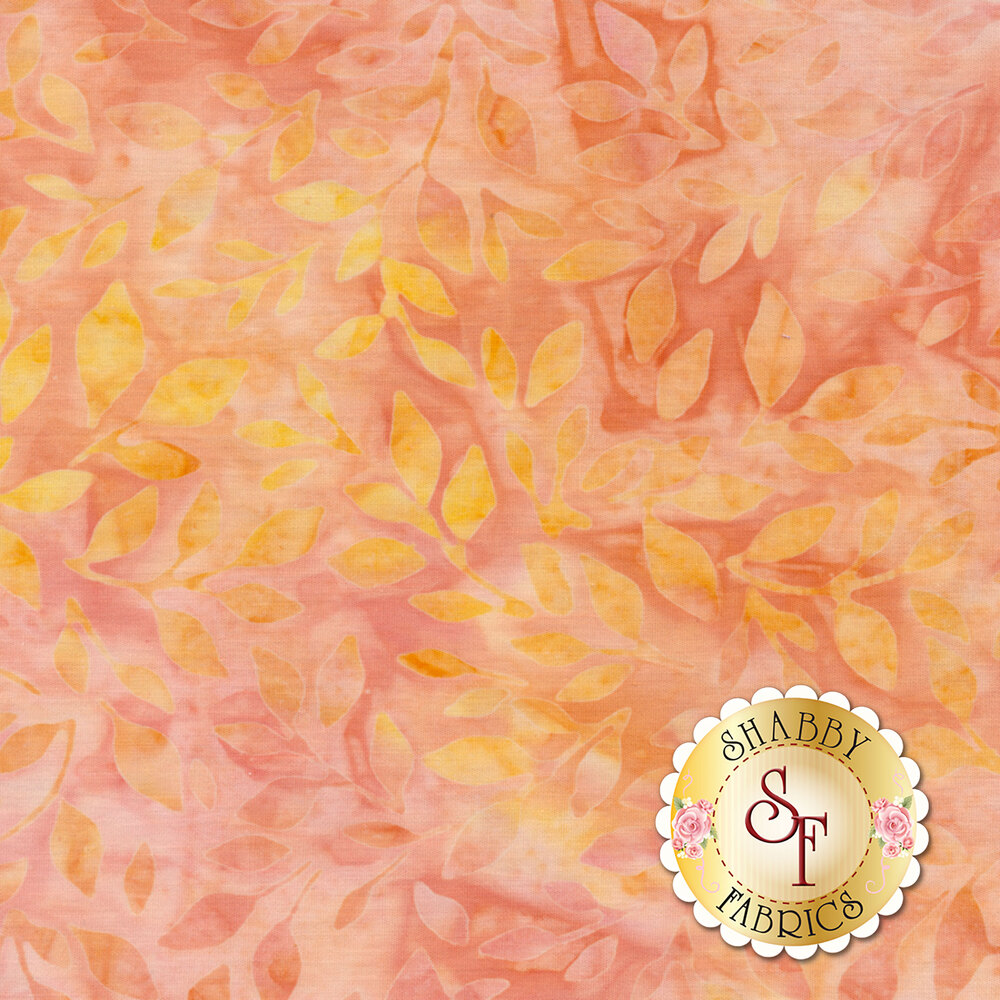 Mottled orange and yellow leaves on a mottled peach background
