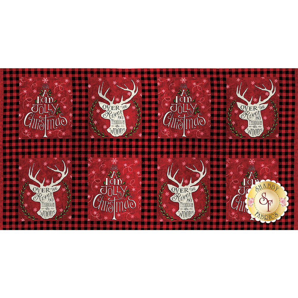 Hearthside Holiday 19830-12  Berry Red Panel for Moda Fabrics