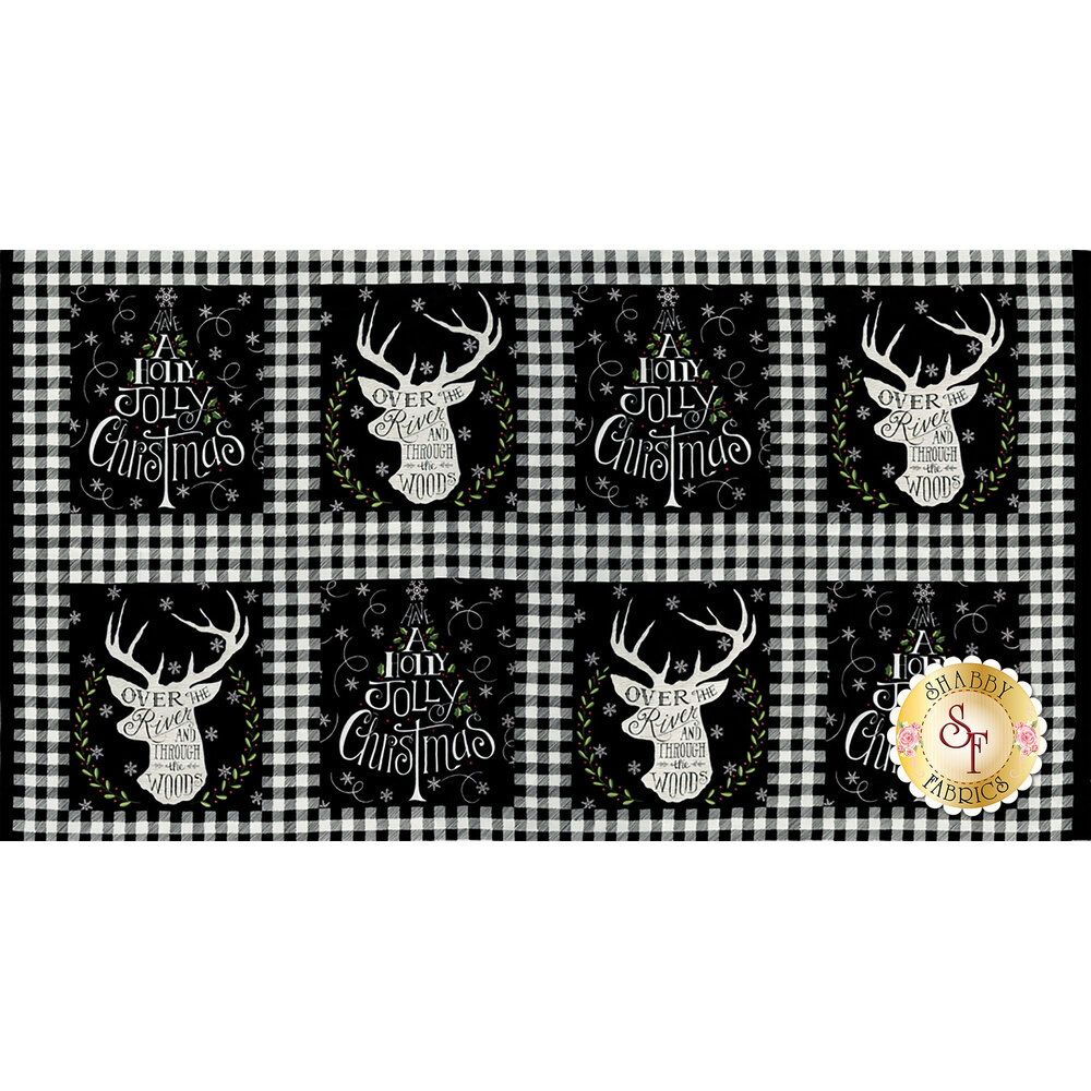 Hearthside Holiday 19830-13 Charcoal Black Panel for Moda Fabrics