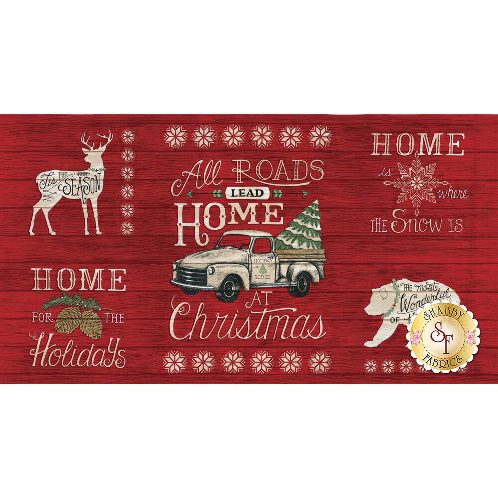 A panel featuring a red wooden textured background with outlines of animals and holiday phrases