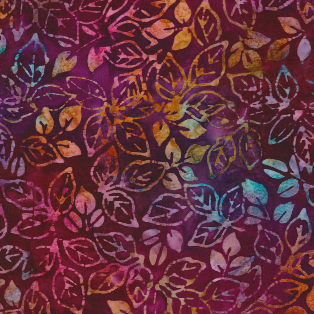 Multi colored leaves on a red background   Shabby Fabrics