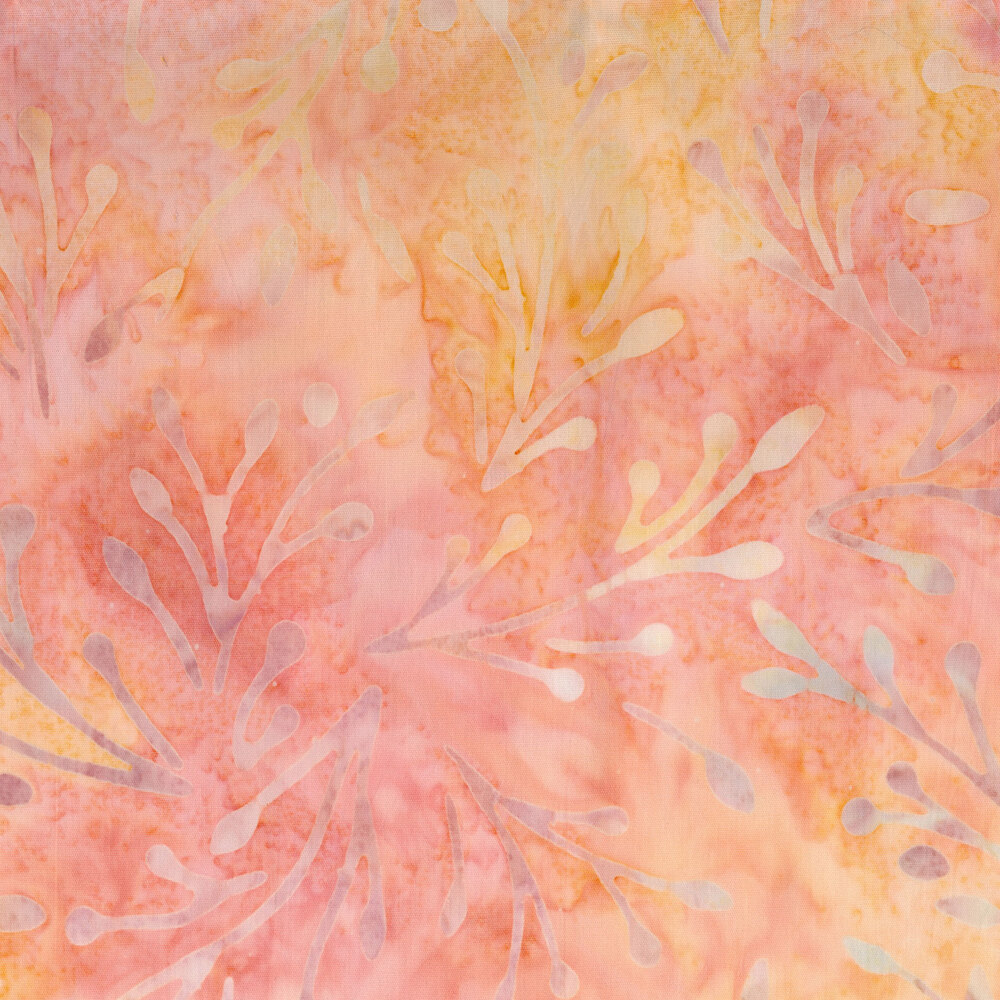 mottled yellow colored sprigs on salmon   Shabby Fabrics