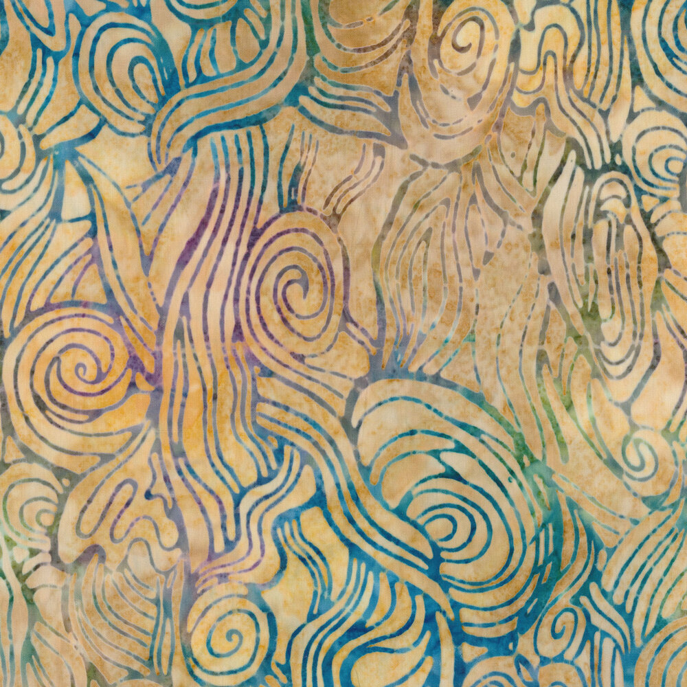 Mottled blue swirls on yellow   Shabby Fabrics