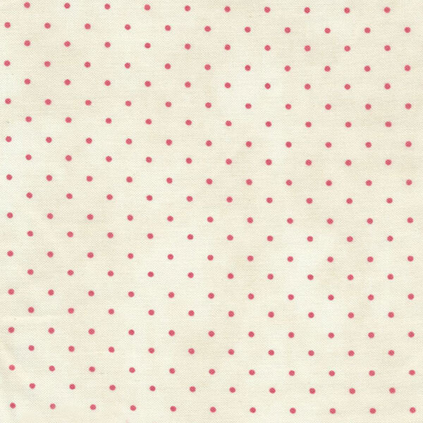 Small pink polka dots on a white background