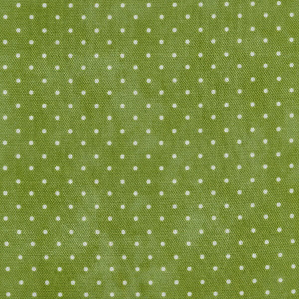 Light green mottled fabric with small white polka dots