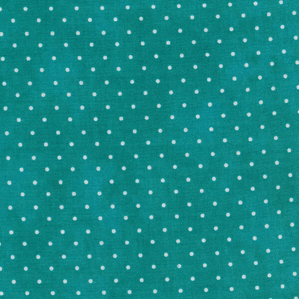 Teal mottled fabric with small white polka dots