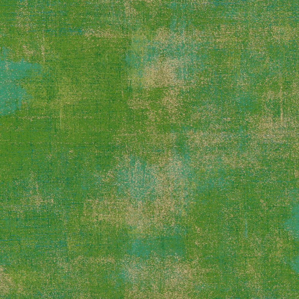 Bright green textured fabric with metallic gold | Shabby Fabrics
