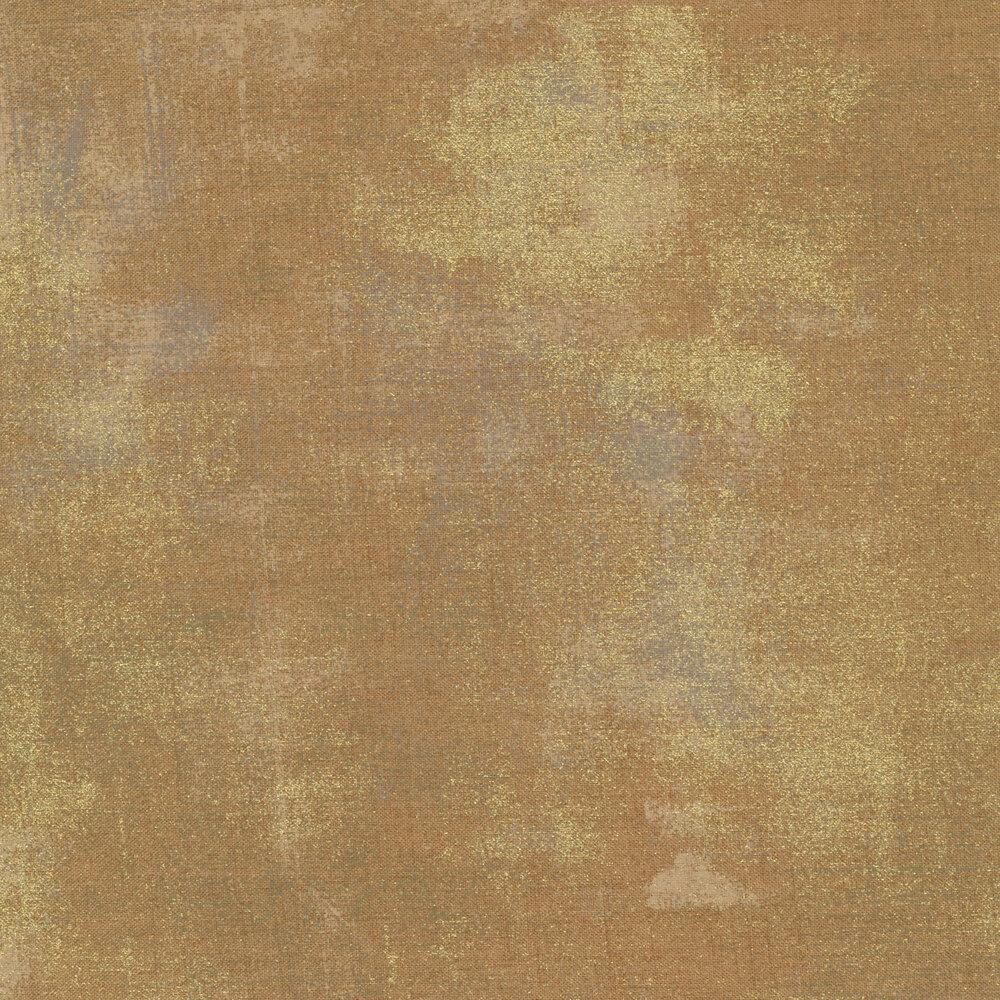Light brown textured fabric with metallic gold | Shabby Fabrics